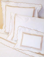 Classic Chain and Scallop Embroidered Bed Linens