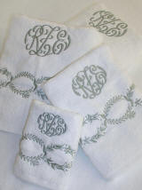 Luxury Egyptian Cotton Bath Linens with French Embroidery and Couture Monogramming