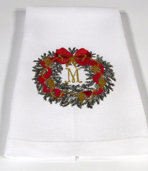 Luxury Christmas Kitchen Towels: Personalized Christmas Guest Towels-Christmas Wreath