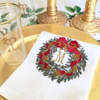 Custom embroidered Christmas linen guest towels with beautiful monograms make the perfect hostess or holiday gift!