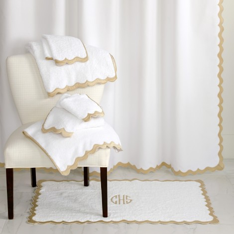 Custom Applique Scallop Bath Towels Sheets And Shower Curtains Finished With Meticulously Crafted