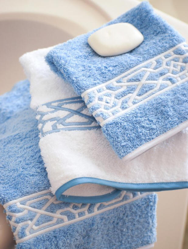 Geometric Custom Embroidered Luxury Bath Towels.