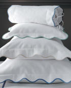 Pique coverlets & duvet covers finished with a wide scallop in a range of colors. Applique monogram compliments the border color.