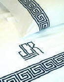 Greek Key Embroidered and Monogrammed Bed Linens