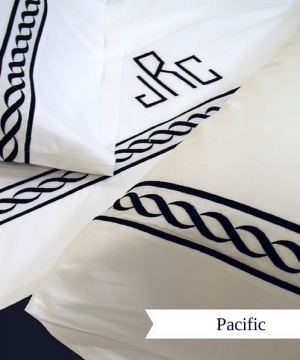 Pacific- bold and heavy embroidered chain pattern finished with a custom Swiss monogram.