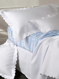 Diamond Pique coverlets, duvet covers and shams finished with a white scallop.
