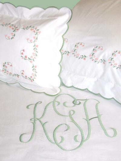 Lilli Belle Embroidered Sheets, Cases, Shams, Duvet Covers and Coverlets