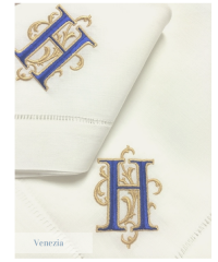 Signature Venezia custom monogrammed hemstitched linen napkins and monogrammed table linens.