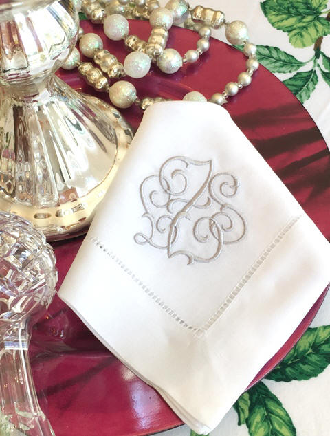 Our Signature Monogrammed Napkins, Mats, Cocktail Napkins and Guest Towels. Shown is 'Gwyn'.