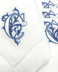 Venezia monogrammed napkins, cocktail napkins and guest towels.
