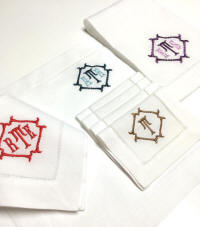 NEW! Winslow Monogrammed Linen Nakins, Placemats, Cocktail Napkins & Guest Towels!