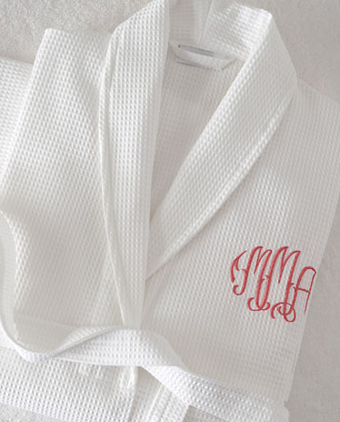 Monogrammed luxury Egyptian cotton waffle weave robes and terry spa robes.