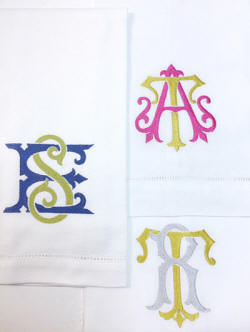 Two letter vintage monogram linen napkins and guest towels!