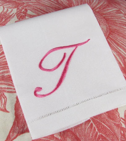 Louisa Monogram- Script Monogram for Bed, Bath & Table Linens and Accessories.