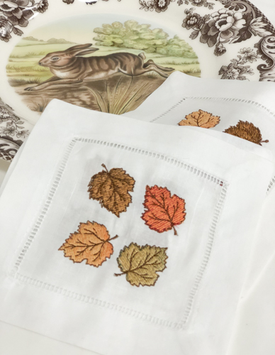 Fall Leaves Embroidered Linen Cocktail Napkins