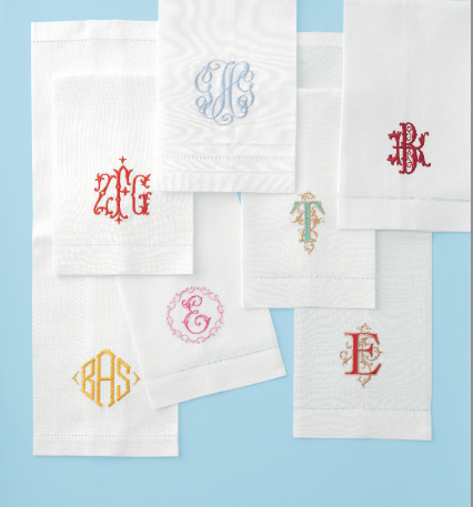 Bella Lino Custom Monogrammed Linen Guest Towels as shown in MARTHA STEWART WEDDINGS!