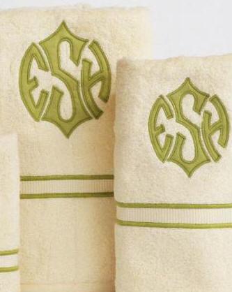 New custom applique monograms on luxury egyptian cotton towels shown