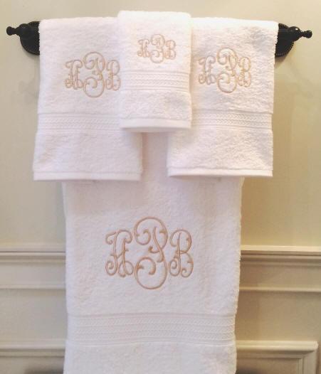 Monogrammed Bath Towel Sets Signature Monogram Towels