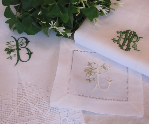 Shamrock Mosaic Guest Towel, Cocktail Napkin, Francesca Napkin-All in Irish Green or Pastel Palette.